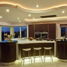 Beautiful Kitchen Ceiling Design Accentuated With Lots Of Spot Lights Rope LED Light