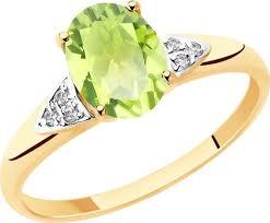 <b>Кольцо</b> Diamant, золото 585, фианит, <b>хризолит</b>, 17, 51-310 ...