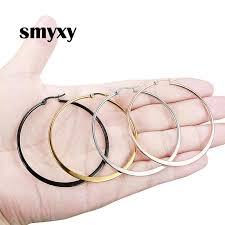 <b>1 Pair Women</b> Hypoallergenic Stainless Steel Rounded Smooth Big ...