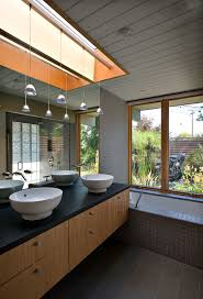 wire track lighting bathroom midcentury remodeling ideas with two vessel sinks mirror mounted faucet bathroom track lighting