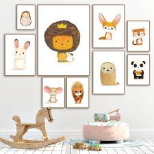 <b>Cartoon Lion Rabbit</b> Mouse Squirrel Fox Tiger Nordic Canvas ...