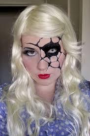 porcelain doll with a shattered eye make up