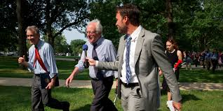 hillary clinton s greatest weakness interview business insider a reporter asks questions of democratic presidential candidate sen bernie sanders i vt center as he leaves a rally of registered nurses and other