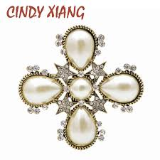 <b>CINDY XIANG</b> New Arrival 2018 Pearl Cross <b>Baroque</b> Brooches for ...