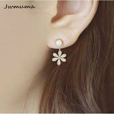 New Popular <b>Pearl</b> Inlaid Earrings Gold And Silver <b>five leaf Flower</b> ...