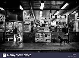 vine black and white stock photos images alamy dog in front of a liquor store in portland oregon usa stock image