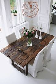 real rustic kitchen table long: rustic table amp geometric chandelier  rustic table amp geometric chandelier