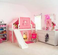 modern kids room with pink bunk bed tent with white slider and white dresser and shelves bunk beds kids dresser