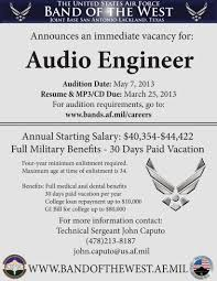 usaf band audio engineer postition usc music industry connection audio engineer audition flyer