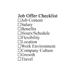 how to evaluate a job offer job offer checklist