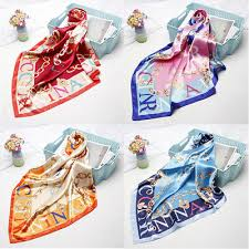 <b>Women's Square</b> Hijab Scarf <b>Fashion Letter</b> Print Soft Satin Shawl ...