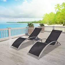 vidaXL <b>3 Piece Sun</b> Lounger Recliner Set 2 Beach Chairs 1 Table ...