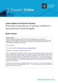 (PDF) <b>Parental</b> evaluations of young <b>children's touchscreen</b> ...