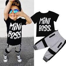 2Pcs <b>Toddler Kids Baby Boy</b> T-shirt Tops Pants Harem Outfits Set ...