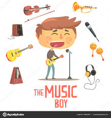 boy singer and musician kids future dream professional occupation kids future dream professional occupation illustration related to profession objects smiling child carton character career attributes around