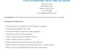 resume samples food and beverage server resume sample food server job description