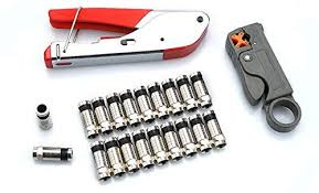 <b>Coax</b> Cable Crimper, <b>Coaxial</b> Compression Tool Kit Wire Stripper ...