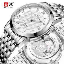 <b>Mens</b> Stainless Steel Watches Balck Silver Calendar Man <b>Weisikai</b> ...