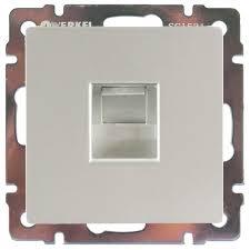 <b>Розетка</b> компьютерная встраиваемая <b>Werkel RJ45</b>, цвет серебро ...