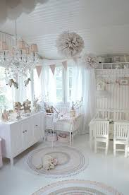 white and pink nursery with shabby chic decor chic white home