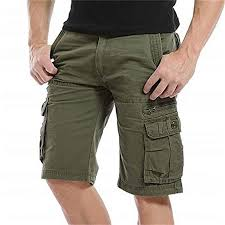 QYeah <b>Mens Cargo Shorts</b> Cotton Loose Fit Twill <b>Summer Combat</b> ...