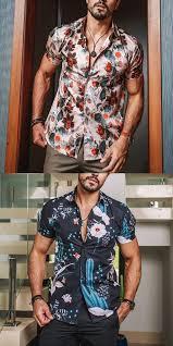 <b>Men's casual fashion printed</b> short-sleeved beach shirt | Mens ...