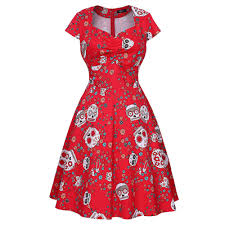 <b>Vintage Skull</b> Print Sweetheart Swing Dress-buy at a low prices on ...
