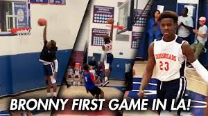 BRONNY JAMES DUNKS IN FIRST GAME in LA with LeBron ...