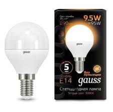 <b>105101110 Лампа Gauss LED</b> Globe E14 9.5W 3000K