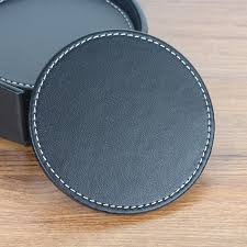 Pack of 6PCS Durable <b>PU</b> Leather Cup Mat <b>Round</b> Cup <b>Coaster</b> ...