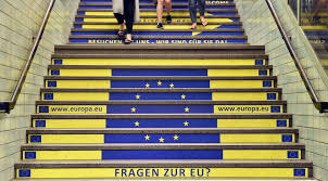 public affairs leadership series the eu question ellwood a view of an advert showing the flag of the european flag a website and