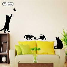 1 шт. Горячая наклейка на стену кошки играть <b>бабочка</b> ...