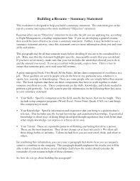 doc summary sample resume for executive summary summary statement template