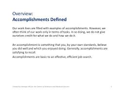 defining accomplishments
