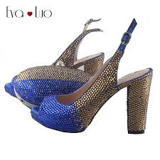 BS816 DHL <b>Custom Made</b> Block Heel <b>Royal Blue</b> Gold Crystal ...