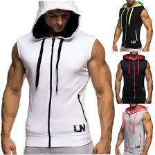 Online Shop <b>Zogaa Mens</b> Hooded Sleeveless T shirts Muscle ...