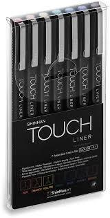 Touch Набор капиллярных <b>ручек Liner</b> 7 цветов 0,1 мм