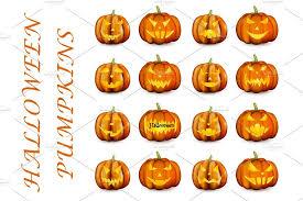 Set of orange <b>3d halloween pumpkins</b> ~ Illustrations ~ <b>Creative</b> Market