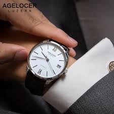 AGELCOER <b>Swiss</b> Mechanical Watch Business Men <b>Luxury</b> Brand ...