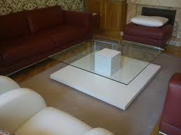 Glass White Square Ikea Coffee Table Furniture Ideas On The Fur Carpet With Red Sofa   T