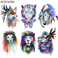 <b>ZOTOONE Colorful Animal</b> Patch Iron on Transfers Diy Decoration ...