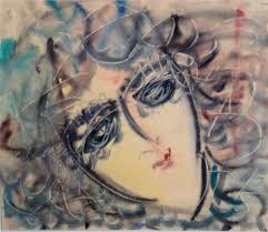 Anatoly Zverev, O.T. (Frauenportrait), Aquarell/Papier, 55 x 65 cm - 34886b