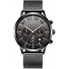 <b>LIGE Men Watches</b> Fashion Black Stainless Steel Waterproof Quartz ...