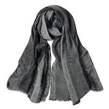 GERINLY <b>Cotton</b>-<b>Linen Scarves</b> Mens Stripe Crinkle Long <b>Scarf</b> ...