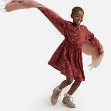 <b>Платье струящееся</b> с длинными рукавами, с принтом, 3-12 лет ...
