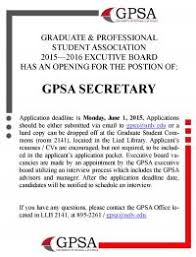 gpsa – e board open position  secretary   graduate       gpsa secretary vacancy  application deadline is june