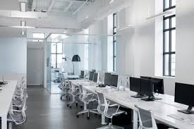 the blue white office space