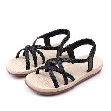Girls Solid Color <b>Knitted Elastic</b> Band Holiday <b>Beach</b> Sandals On ...