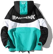 OTFTHPCW Hooded Jacket <b>Mens Fashion Stitching</b> Printing Hip ...