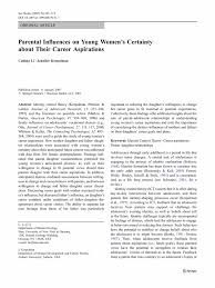 Parental Influences on Young Women's Certainty about Their Career ... Inside